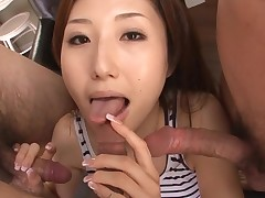 Doxy Asian mommy deepthroats large dick and her slit fingered
