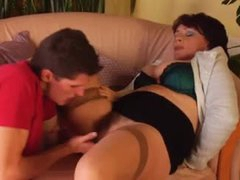 Hairy bush mature fucked by young guy