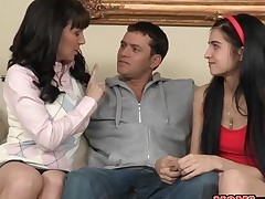 Stud gets his hard knob satisfied by 2 alluring hotties
