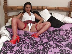 Anna likes to dress like a school girl but she's not one anymore, the 50 y. o. cunt has a lot more experience! Anna still enjoys a hard pussy rubbing just like she used to in the old times so here you have it, playing alone with her body and rubbing those tits and pussy. Let's see if she will remove her panties